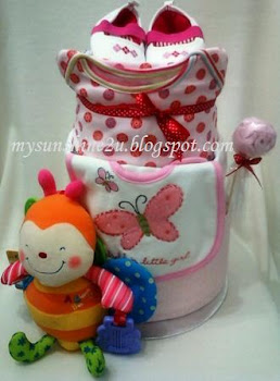 2 Tier Pink Diaper cake