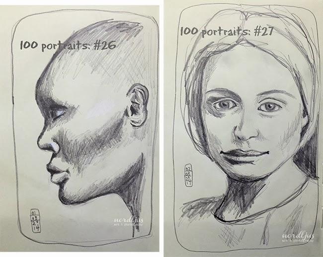 100 portraits 26+27 pencil drawing