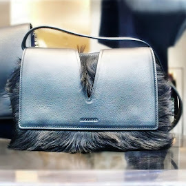 Jil Sander furry VIEW calfskin leather shoulder bag