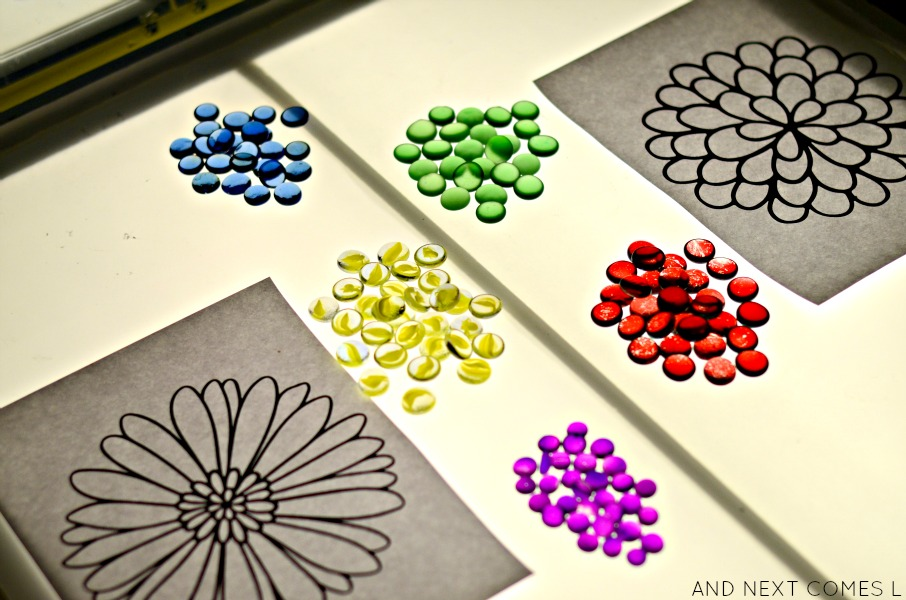 Creating flower mandalas on the light table from And Next Comes L