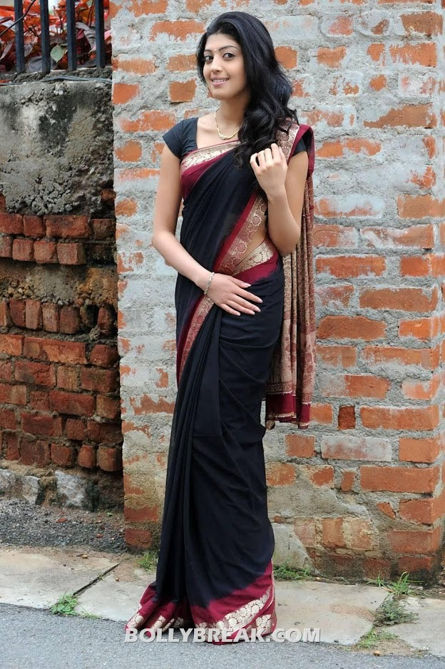 Pranitha in black transparent saree