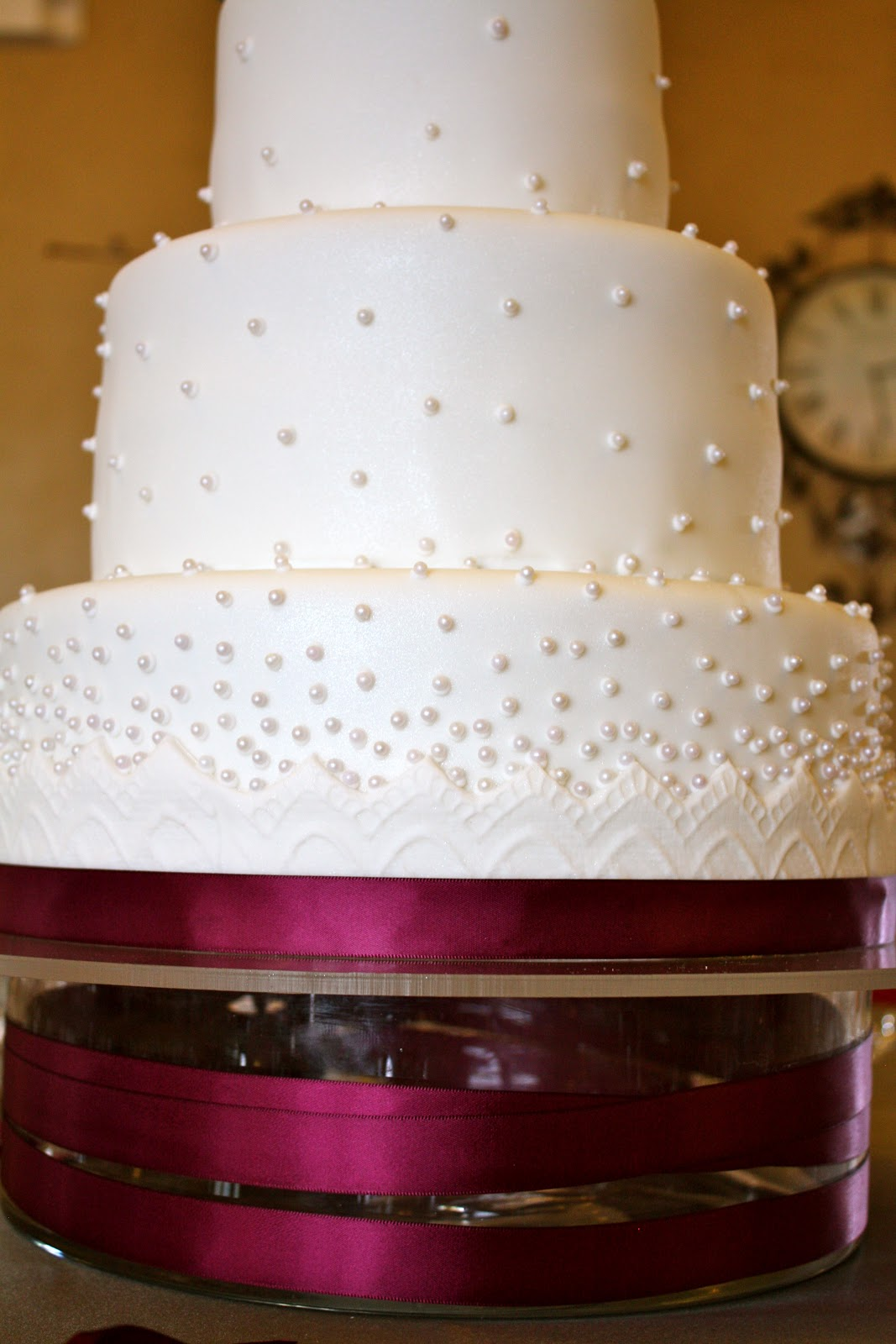 Bumble Cakes Perfectly Plum Lace And Beaded Wedding Cake