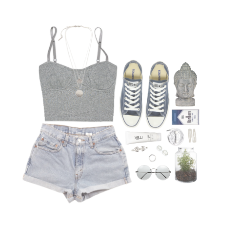 jeans shorts crop top outfit sneakers