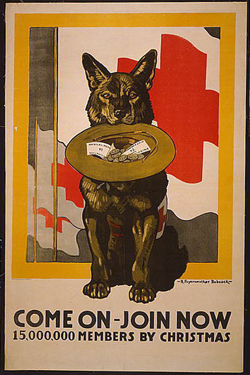 advertising, wildlife, vintage, vintage posters, retro prints, classic posters, graphic design, free download, dog, Come On, Join Now, 15,000,000 Members by Christmas - Vintage Red Cross Poster