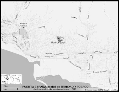 TRINIDAD Y TOBAGO, Mapa de PUERTO ESPAA, capital de TRINIDAD Y TOBAGO, blanco y negro