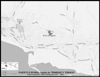 TRINIDAD Y TOBAGO, Mapa de PUERTO ESPAÑA, capital de TRINIDAD Y TOBAGO, blanco y negro