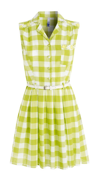 H! by Henry Holland Lime Green checkered dress