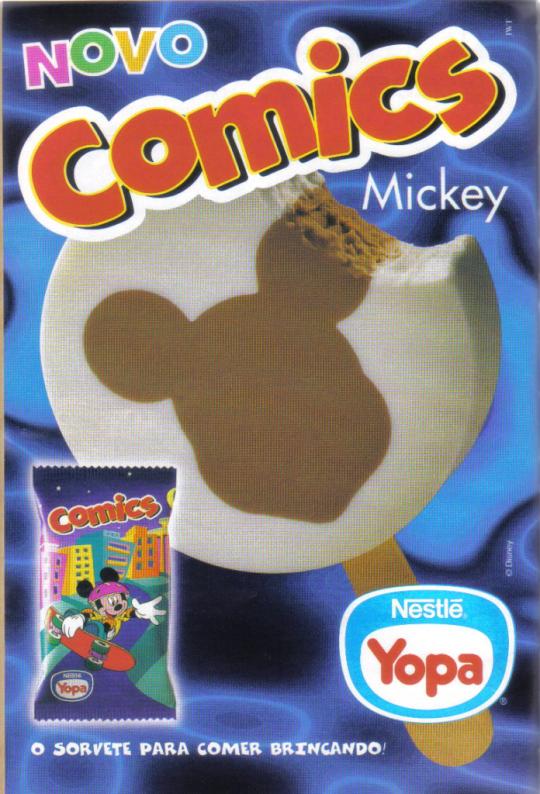 Propaganda do Sorvete Comics da YOPA em 1997: personagens da Disney ilustravam o sorvete e sua embalagem.