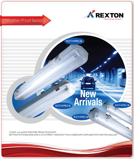 Rexton Technologies offers a range of 118x 218, 136, 236 weatherproof premium battens with ABS base and UV resistant polycarbonate diffuser.