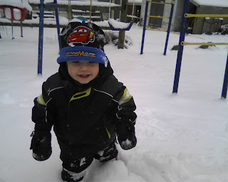 Carter walking in the snow