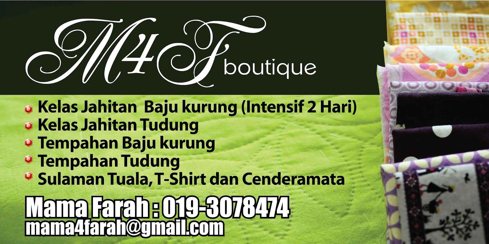 Kelas Jahit | Tempahan Sulam | M4F Boutique @ Kajang Bangi Semenyih Putrajaya