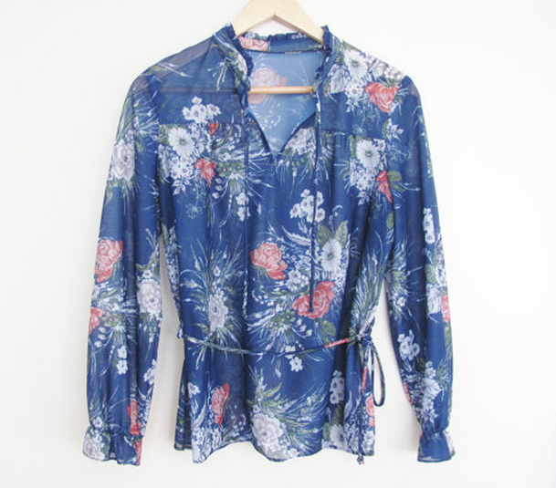 see through 70s blouse with flower pattern in cobalt with roses and floral sprays