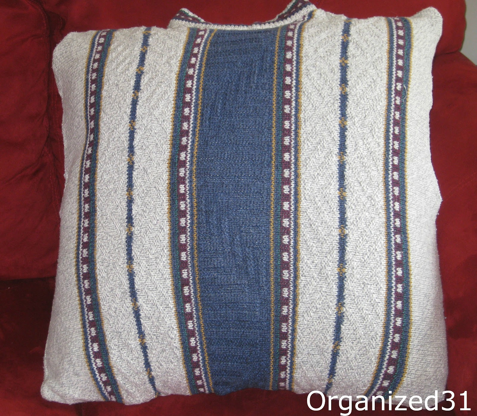 Organized 31: Cozy Repurposed Sweater Pillows