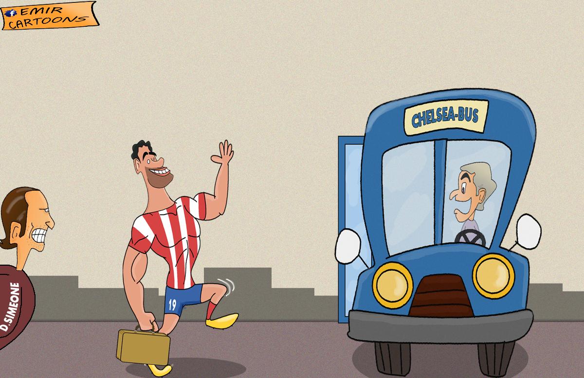Diego Costa, Chelsea, Mourinho, Chelsea BUS, fudbal karikature, karikature fudbal, fudbaleri, kariaktura dana,emir cartoons,