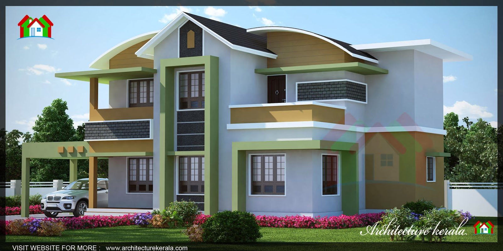 1500 square feet kerala house 3d elevation architecture for Kerala building elevation
