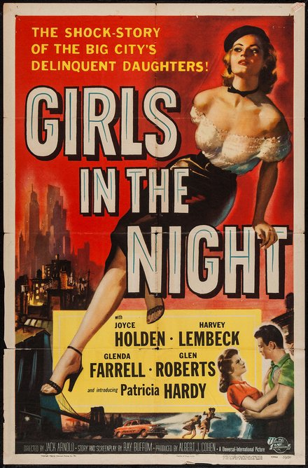 movies, vintage, vintage posters, theater, free download, graphic design, classic posters, retro prints, Girls in the Night, The Shock Story of the Big City's Delinquent Daughters - Vintage Movie Poster