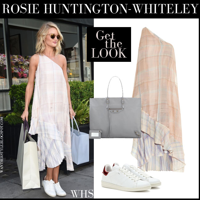 Rosie Huntington-Whiteley in one shoulder check print Stella Mccartney dress, white sneakers Isabel Marant Bart with grey tote Balenciaga papier a4 what she wore july 3