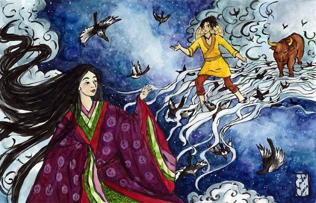 Orihime y Hikoboshi (leyenda de tanabata)