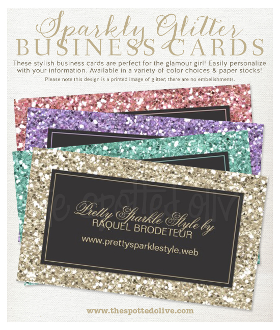 The life and designs of the spotted olive sparkly glitter business note this design is a printed image of glitter there are no embellishments included click the image below to shop our sparkly glitter business cards colourmoves