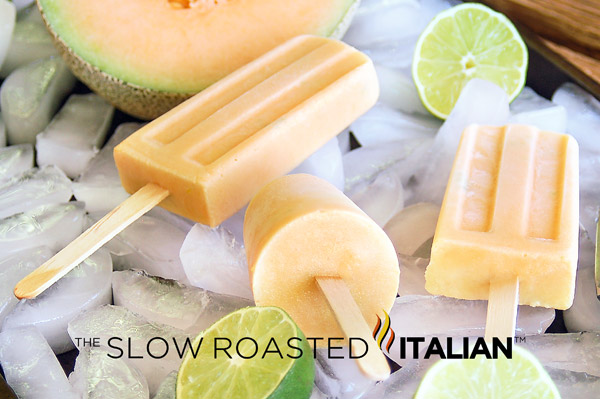 Cantaloupe and Cream Lime Ice Pops
