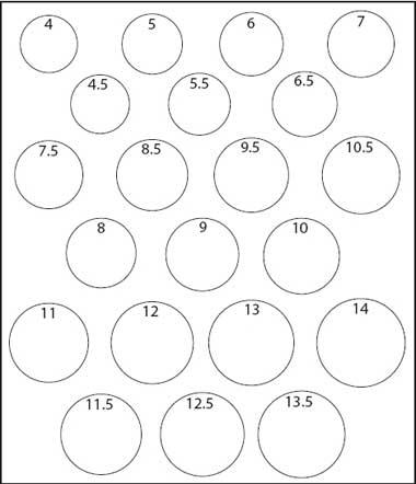 Printable Men's Ring Size Chart