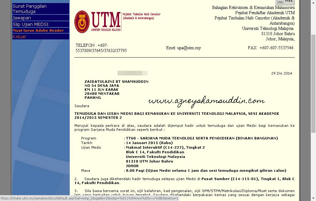 Pengalaman Menghadapi Ujian Medsi dan Temuduga di UTM