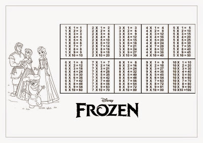 Tabuada para Imprimir - Frozen