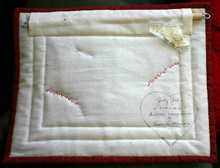 Back of Girly Girl greyhound quilt square by Peggy Voakes