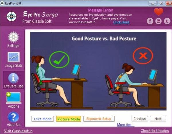 برنامج مجاني لحمايتك وحماية عينيك من أضرار الجلوس علي الكمبيوتر لساعات طويلة EyePro v3
