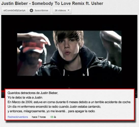 Los 29 mejores comentarios de youtube en la historia for Justin bieber caracteristicas