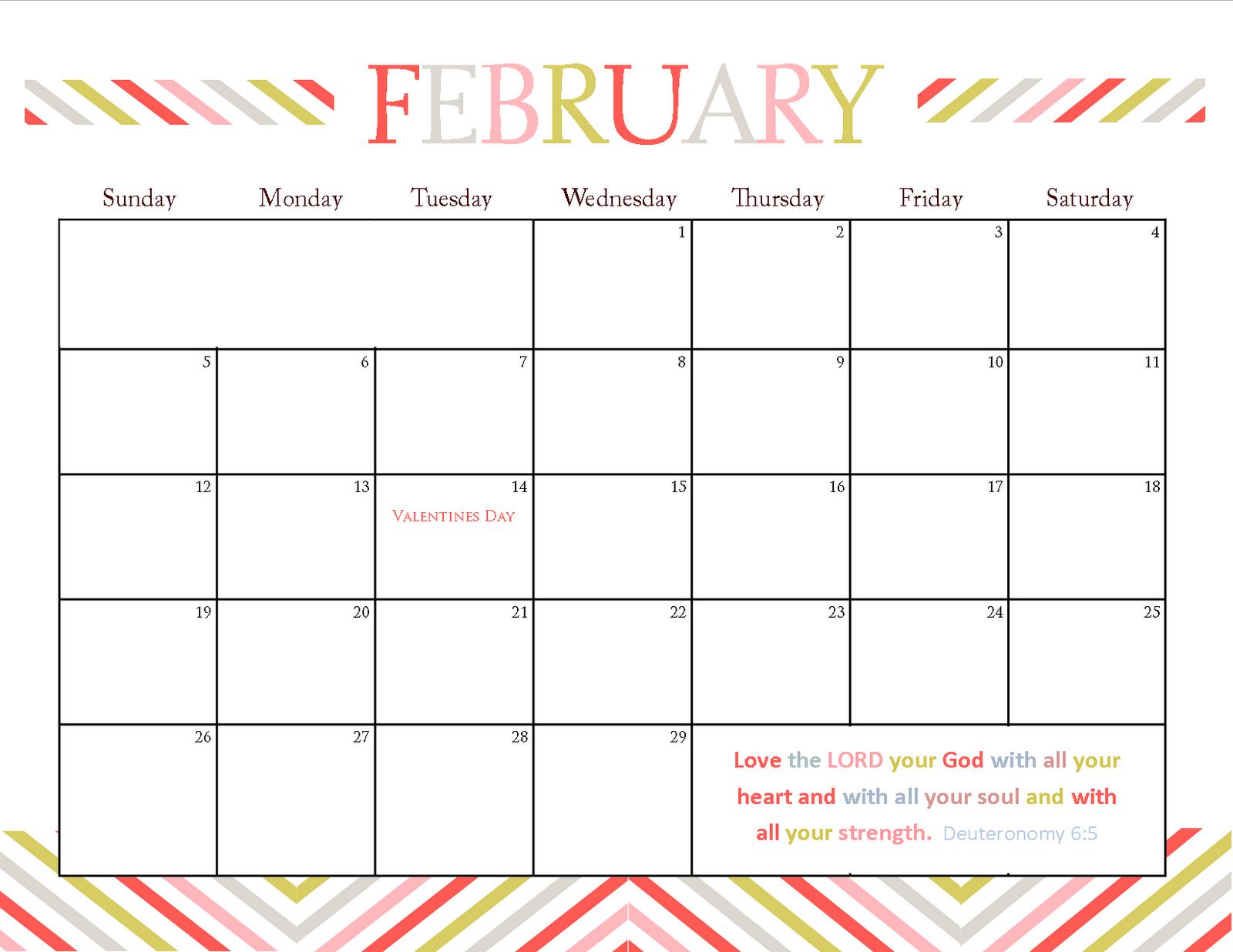 Printable Calendars for February 2012