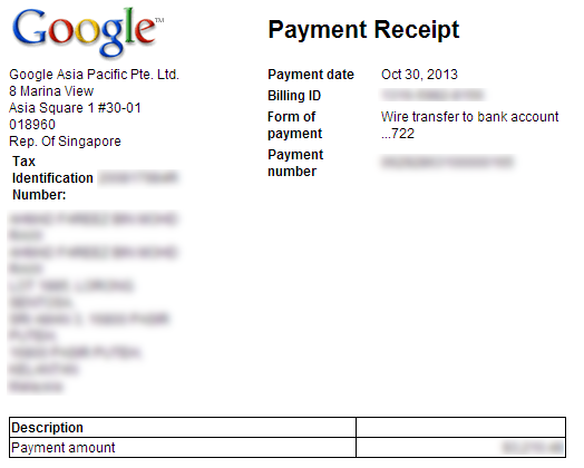 AdSense Payment Receipt via Wire Transfer