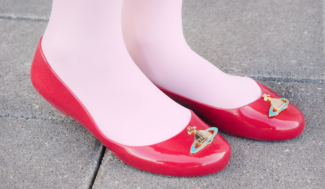 vivienne westwood, melissa, red shoes