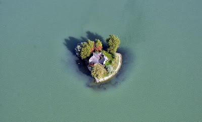 An aerial view shows an island in a dredging lake in Rastatt, southern Germany.