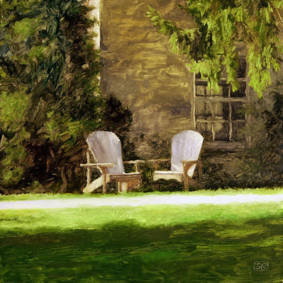 "Muskoka Chairs, oil on panel, 12"" x 12"" © Shannon Reynolds, 2013"