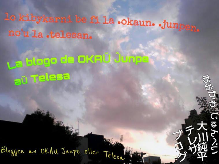 .okaun. .junpen. no'u la .telesan. / OKAŬ Ĵunpe aŭ Telesa / OKAU Junpe eller Telesa / 大川純平 テレサ