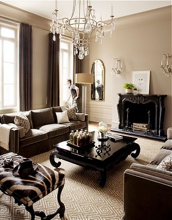 traditional monochromatic neutral living room