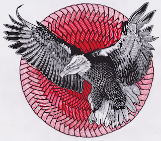 ink pen drawing of an eagle in patterned circle by TonyMark