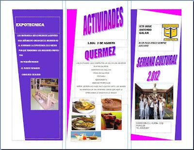 Para la semana cultural podemos desarrollar un folleto usando el programa publisher