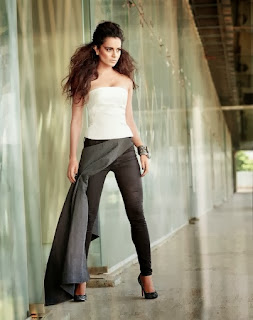 kangana-ranaut-in-strapless-white-top-and-black-skin-tight-pant-with-high-heels
