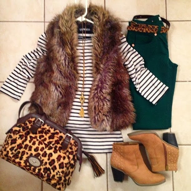 Adorable white sweater, green pants, cheetah style handbag and high heel boots for fall