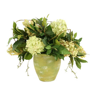 Green Hydrangea Faux Flower Arrangement