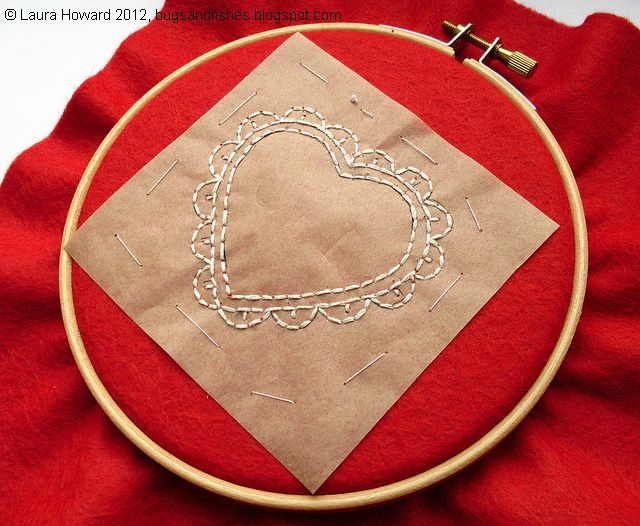 Bugs and fishes by lupin how to embroidered heart hoop