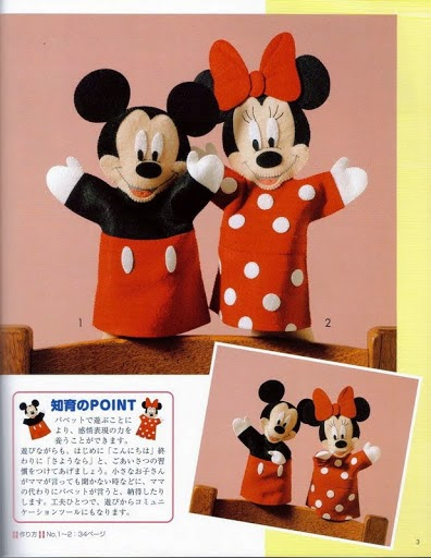 Moldes fantoches Mickey e Minnie