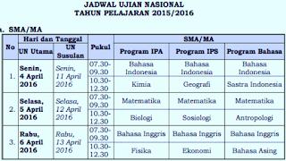 Jadwal UN SMA MA SMK MAK Tahun 2016