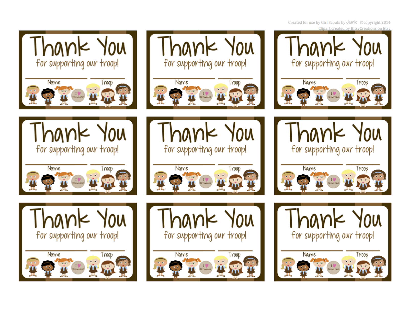 Gargantuan image inside girl scout cookie thank you notes printable