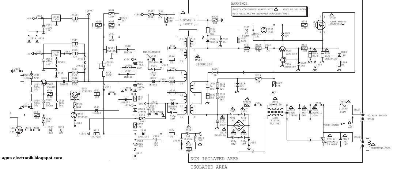 skema power supply kepunyaan tv Polytron MX-Series dan model lainnya
