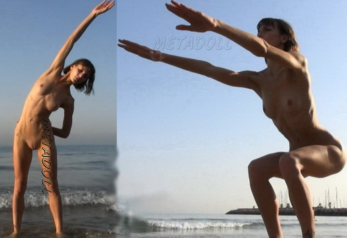 Naked on the beach doing workout