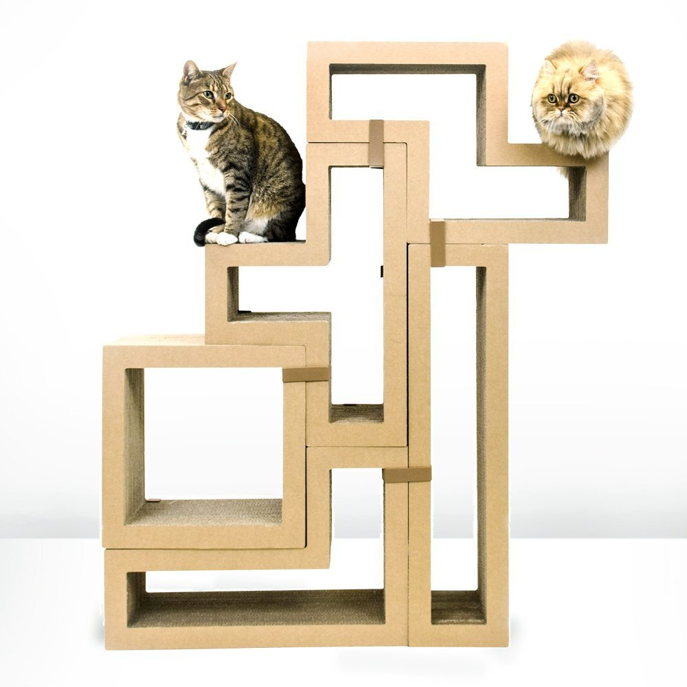 Cardboard cat house cat scratcher play house could be for Diy cat tower cardboard