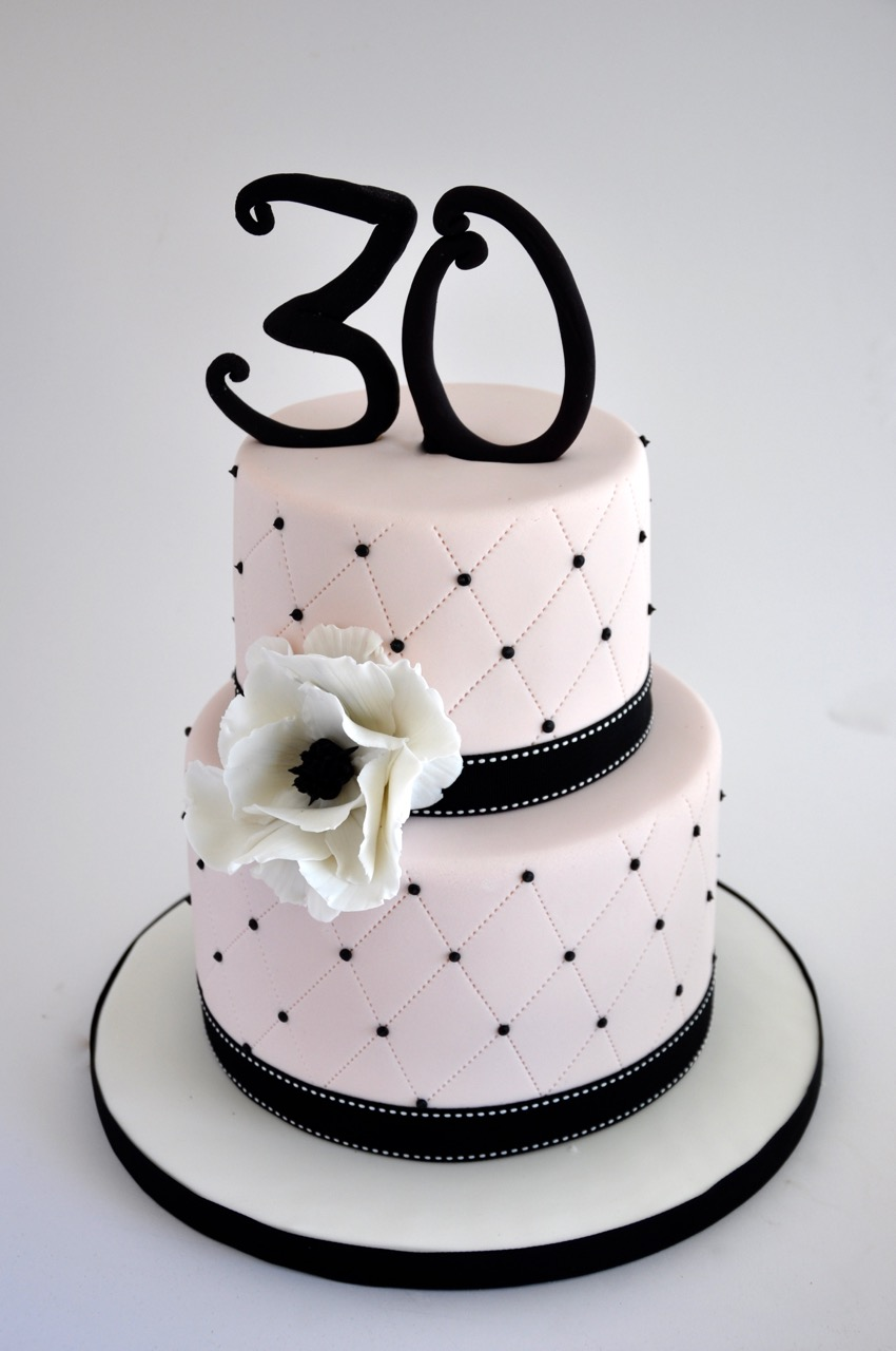 Rozannes Cakes Light Pink And Black Birthday Cake